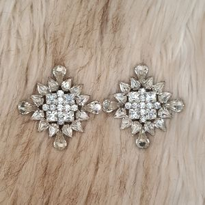 Large Vintage Rhinestone Clip Earrings